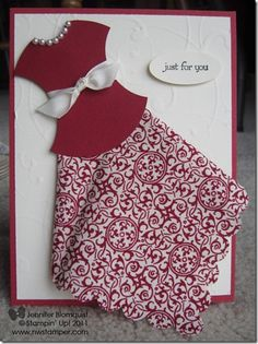 Dress Card using Designer Fabrics - Northwest Stamper Cute Cards, Diy Cards, Dress Card, Dress Up, Fancy Dress, Origami Vestidos, Punch Art Cards, Origami Dress, Paper Cards