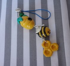 Cute Hive & Bee Polymer Clay Charm by CrumbbyStuffs on Etsy