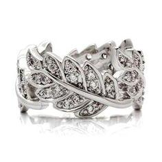 Jinnifer's Silver Imitation Diamond Leaf Design Ring #Glimpse_by_TheFind