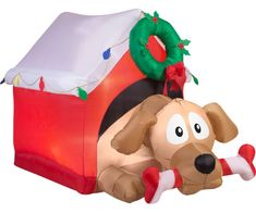 new gemmy christmas inflatable for 2016dog with gift in doghouse christmas - Christmas Airblown Inflatables