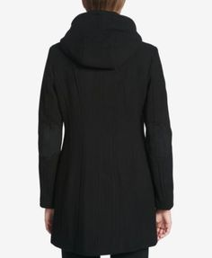 Calvin Klein Hooded Wool-Blend Walker Coat - Black XXS