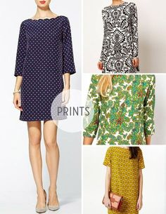 """Make some patterned shift dresses. love this pattern, used for my """"cocktail"""" dress.  i should make more..."""