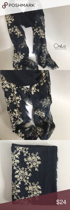 """Dark Blue Embroidered Scarf Dark blue with white embroidered flowers. Measures 35""""x71"""". Material is 50% cotton and 50% polyester. If you have questions let me know. No Offers or trades 😊. OnLo Boutique  Accessories Scarves & Wraps"""