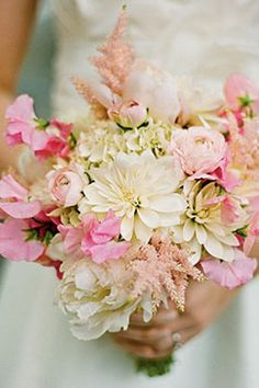 Pretty soft pink and ivory bouquet. I love how textured this bouquet is with all the different flowers. Pale Pink Bouquet, Sweet Pea Bouquet, Bridal Bouquet Pink, Pink Flowers, Bridal Gown, Pink Peonies, Hydrangea Bouquet Wedding, Purple Wedding Bouquets, Bride Bouquets