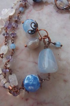 Moonstone amethyst and blue agate wire wrapped by mooliemarket, $32.00