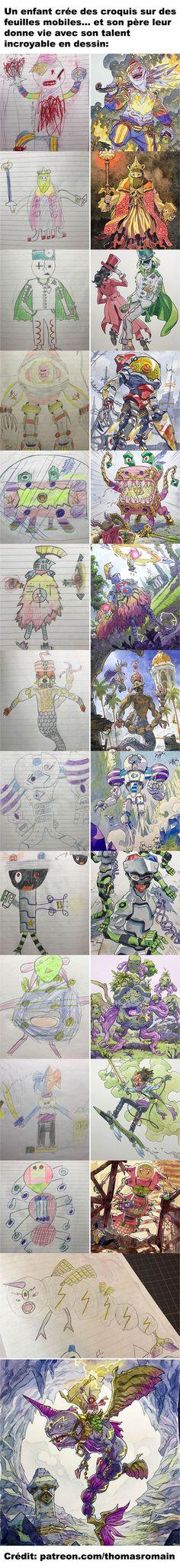 Un enfant crée des croquis et son père leur donne vie Amazing Drawings, Cool Drawings, Amazing Art, Matte Painting, Painting & Drawing, Art Cyberpunk, Character Art, Character Design, Art Mignon