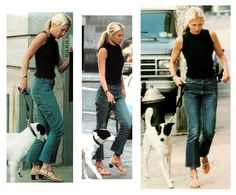 The incredibly lovely Carolyn Bessette Kennedy (RIP).  She takes a walk with her dog after her honeymoon in NYC. 1996.