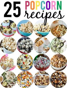 25 Flavored Popcorn Recipes Popcorn recipes for every season. Jazz up your movie night or game night and make your own popcorn using one of these 25 popcorn recipes Yummy Snacks, Delicious Desserts, Healthy Snacks, Snack Recipes, Cooking Recipes, Yummy Food, Popcorn Flavor Recipes, Kids Popcorn Recipes, Bake Sale Recipes