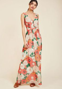 ModCloth - ModCloth Muster the Length Maxi Dress in Coral - AdoreWe.com