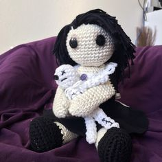 Free Pattern for this cute crochet goth doll pattern. I need one in every color! Voodoo baby optional. MelodyCrochet