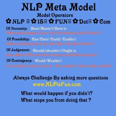 NLP Meta Model Modal Operators of Possibility www.NLPisFun.com Nlp Therapy, Nlp Books, Nlp Coaching, Nlp Techniques, Workshop, Brain Tricks, Everything Is Energy, Positive Psychology, Hypnotherapy
