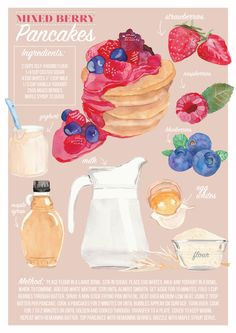 Mixed Berry Pancakes Illustrated Recipe Print  An illustrated recipe of a great tasting treat for breakfast time. Recipes make for great wall decor in the kitchen, or bar area.  Sizes available: A5 - 148mm x 210mm A4 - 210mm x 297mm A3 - 297mm x 420mm If you require a different size, please let me know - Id love to hear from you.  Packaged in a bend free envelope to ensure it gets to you undamaged, wherever you are.  To view all other FOOD recipe prints, head here: https://www.etsy....