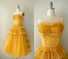 Vintage 1950s Formal Dress  Golden Yellow Tulle by Sweetbeefinds. , via Etsy.