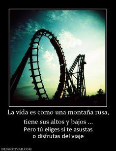 La vida es como una montaña rusa, tiene sus altos y bajos ... Pero tú eliges si te asustas o disfrutas del viaje