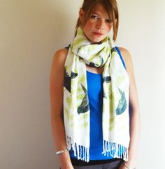 Hey, you know at The White Room we got a thing about birds??? Well check this out... Hand Screen printed Bird Shawl £30 at The White Room SE4 xx