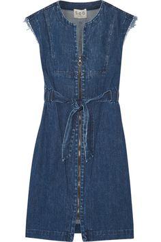 Shop Sea Frayed Denim Dress in Indigo at Modalist Womens Denim Dress, Blue Denim Dress, Ripped Dress, Summer Day Dresses, Denim Fashion, Fashion Fall, Casual Dresses, Denim Dresses, Look