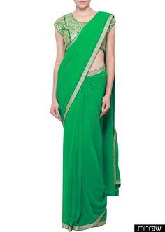 Gorgeous plain green saree
