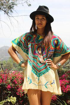 yes yes yes - AWESOME Guatemalan Folk Art Hand Embroidered  Huipil 1960s 1970s