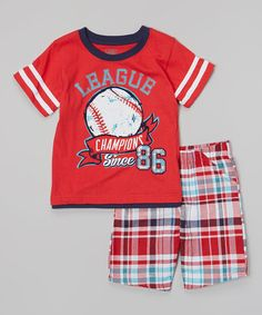 Red 'League Champions' Tee & Plaid Shorts - Infant #zulily #zulilyfinds