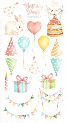 The set of high quality hand painted watercolor Birthday party elements. A Bunny, cake, cupcake, balloons and other birthday elements are included in this set. Perfect for birthday invitations, weddin Watercolor Cake, Watercolor Illustration, Watercolor Trees, Watercolor Background, Watercolor Landscape, Watercolor Paintings, Kids Watercolor, Tea Party Birthday, Birthday Cards