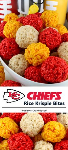 Kansas City Chiefs Rice Krispie Bites – Yummy, bite-sized balls of crunchy, marshmallow-y delight. This is a Football dessert that is easy to make and even better to eat. These colorful and festive Kansas City Chiefs. Football Super Bowl, Chiefs Super Bowl, Football Desserts, Football Party Foods, Football Food, Superbowl Party Food Ideas, Best Superbowl Food, Healthy Superbowl Snacks, Tailgating Recipes