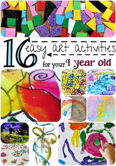 16 easy art activities for your 4 year old! Colorful ideas that will make for an afternoon of creative fun.