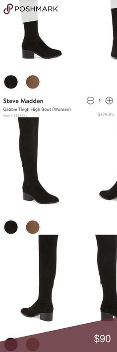 Steve Madden over the knee boots 👢 Super cute over the knee black boots, worn once! Steve Madden Shoes Over the Knee Boots
