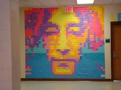 post-it note mosaic by high school students.
