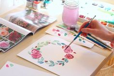 Watercolor Tutorial Lesson Eight: Floral Wreaths — Custom Portraits by Michelle