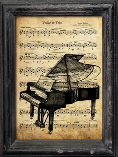 Print Art canvas gift Collage Mixed Media piano music Jazz Illustration Poster  Vintage old Beutiful Reproduction Music Sheet Paper