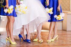 blue bridesmaid dress Lake Las Vegas Destination Wedding Love the shoes! Blue Yellow Weddings, Blue Wedding, Trendy Wedding, Wedding Colors, Bridesmaids And Groomsmen, Wedding Bridesmaids, Bridesmaid Dresses, Wedding Dresses, Trendy Dresses