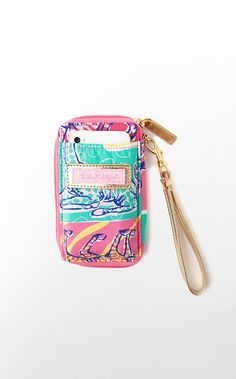 wristlet with iphone compartment, change compartment, credit card holders, id compartment, and LIP GLOSS