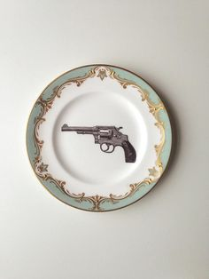 Vintage Gun Revolver Colt Plate Altered Art