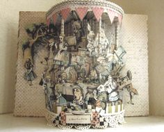 """Alice in wonderland altered book  """"A Mad Tea Party """" repurposed recycled 1943 book designed like a Gazebo tea time by Raidersofthelostart on Etsy"""