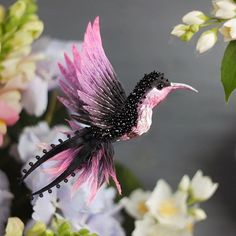 Miniature hand painted natural silk and cotton beaded textile 'OMBRE' Hummingbird brooch ....................................................................................... by Julia Gorina