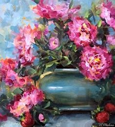 Strawberries and Pink Peonies by artist Nancy Medina. #floral #stilllife #painting found on the FASO Daily Art Show -- http://dailyartshow.faso.com