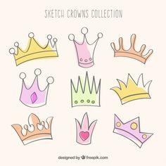 Coleção coroas esboçado Vetor grátis