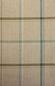Branklyn Box Check Fabric A mid-scale box check fabric in beige with aquas and taupe stripes.