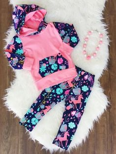 Pink Unicorn Hoodie Pant Set