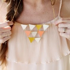 DIY golden geometric triangle necklace (via Sincerely Kinsey)