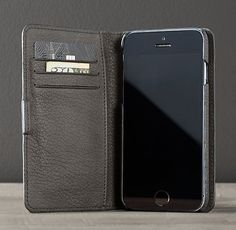 Italian Leather Easel Cover For Iphone® - Pewter