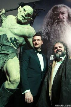 Azog joined Richard Armitage and Peter Jackson at last night's Beijing premiere of #TheHobbit: The Battle of the Five Armies!
