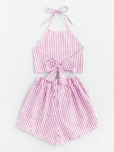 Halter Neck Striped Bow Open Back And Shorts Set Cute Summer Outfits, Trendy Outfits, Fall Outfits, Cute Outfits, Teen Fashion, Fashion Outfits, Two Piece Outfit, Skirt Outfits, Diy Clothes