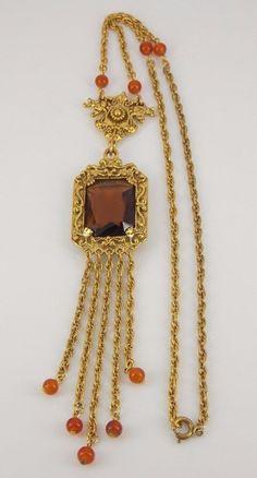 Vintage Goldette Gold Tone Tassel Necklace #Goldette