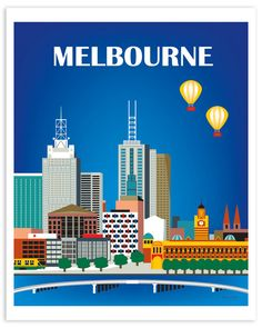 Melbourne Skyline Art Print Australia Travel Poster by LoosePetals