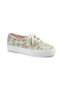 Put spring in your step: Coming this May: collaboration between Keds and Rifle Paper Co. of botanical-print kicks.