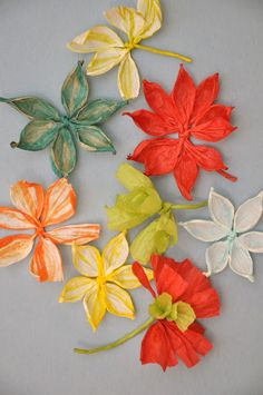 Floral gift toppers made from paper twine