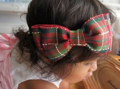 Large Red and Green Plaid Holiday Hair Bow by MiShaMeDesigns