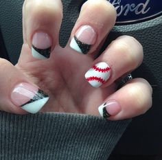 Doing this but brewers or red sox! Softball Nails, Baseball Nails, Softball Quotes, Black Nails, White Nails, Baseball Nail Designs, Really Cute Nails, French Tip Nails, Color Street Nails