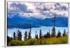 """Showcase your favorite places with canvas prints featuring scenery from all over the world. Featured in a white floating frame, """"Scenic view of Kachemak Bay near Homer, Alaska during Spring"""" from GreatBIGCanvas.com is impressive in any space."""